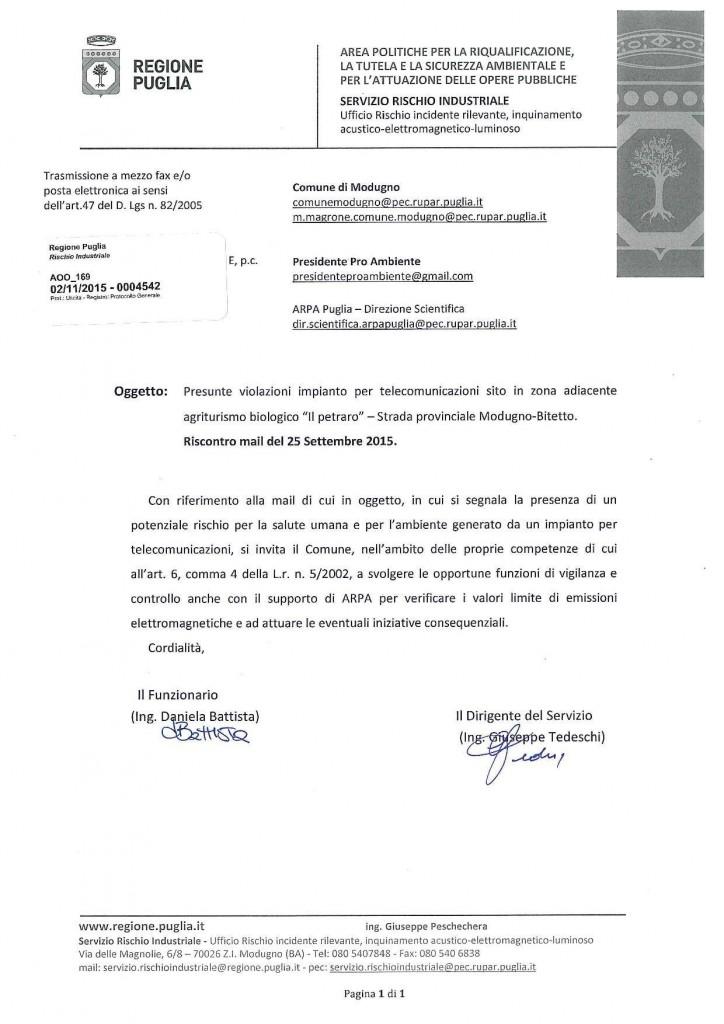 Rischio industriale della Regiona Puglia - Antenna Modugno